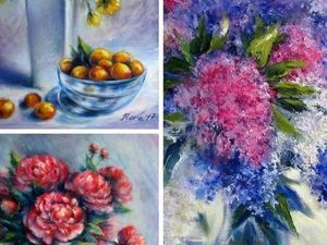 Триптих в красивыми цветами и фруктами!. Ярмарка Мастеров - ручная работа, handmade.