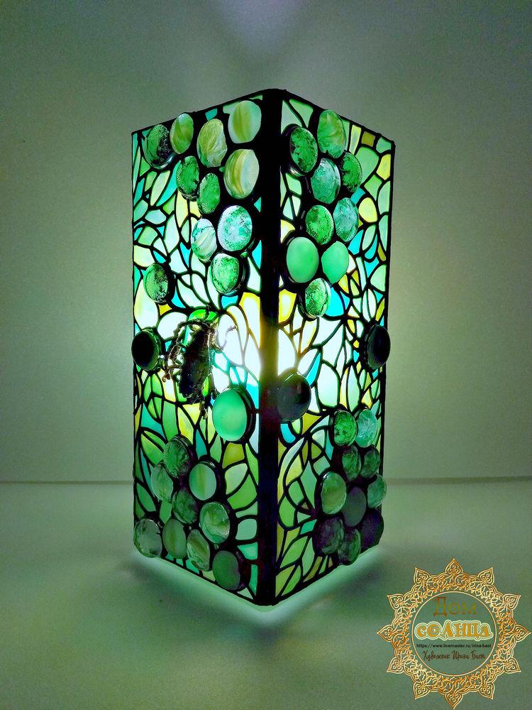 лампа витраж виноград