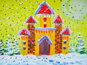 Мастер-класс для детей: рисуем сразу красками «Зимний замок». Ярмарка Мастеров - ручная работа, handmade.