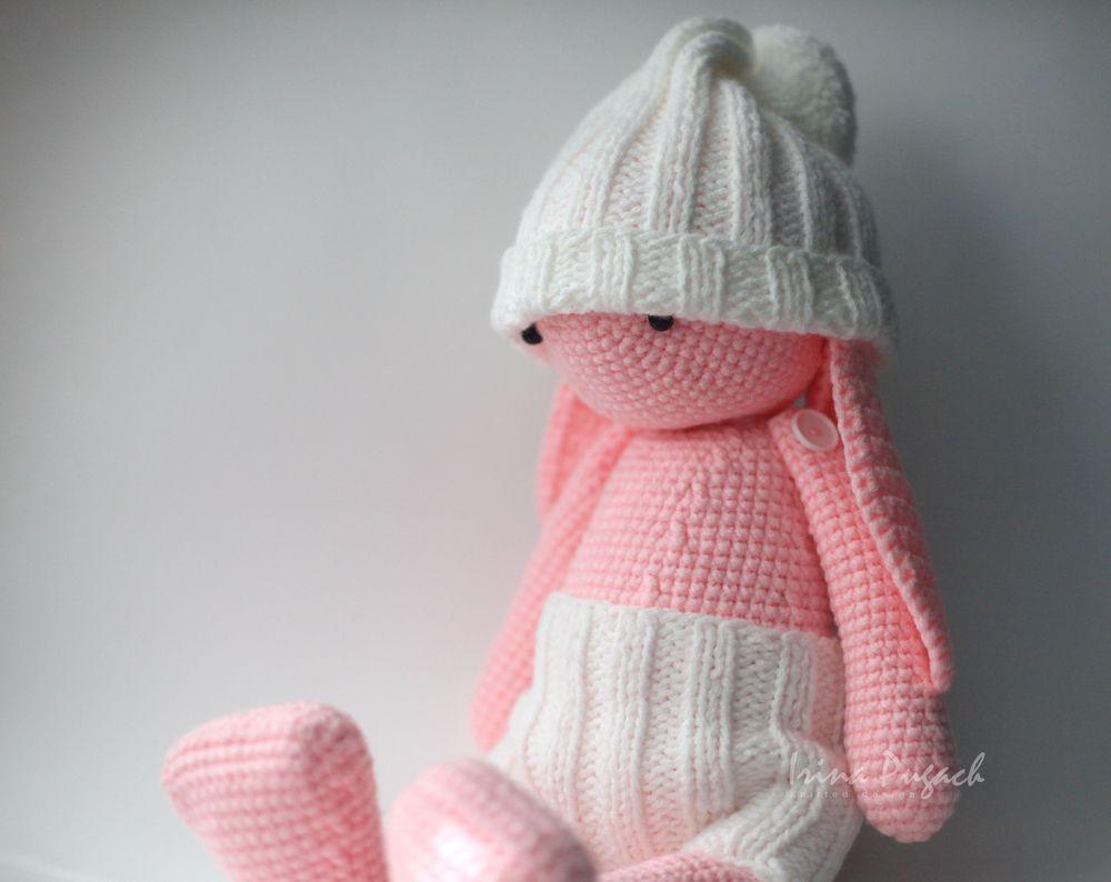 irina pugach, зайка, сахарный зайчик, вязаный заяц, большой заяц, подарок для девочки