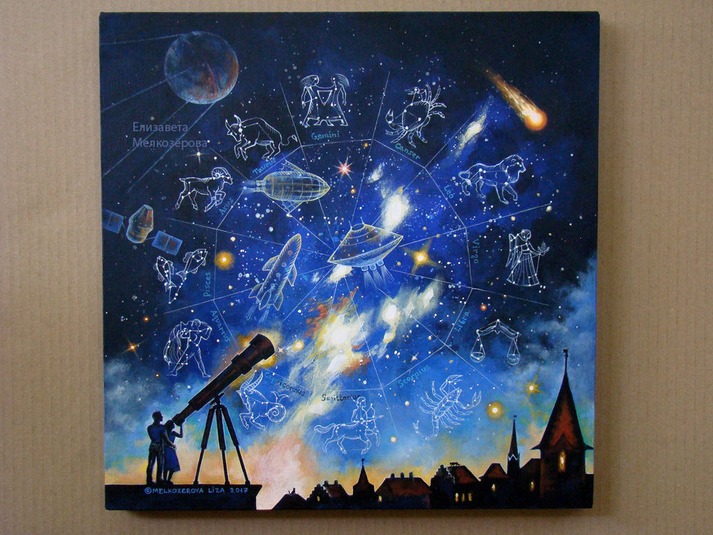 космический фантастика, знаки зодиака знак, темно-синий черный
