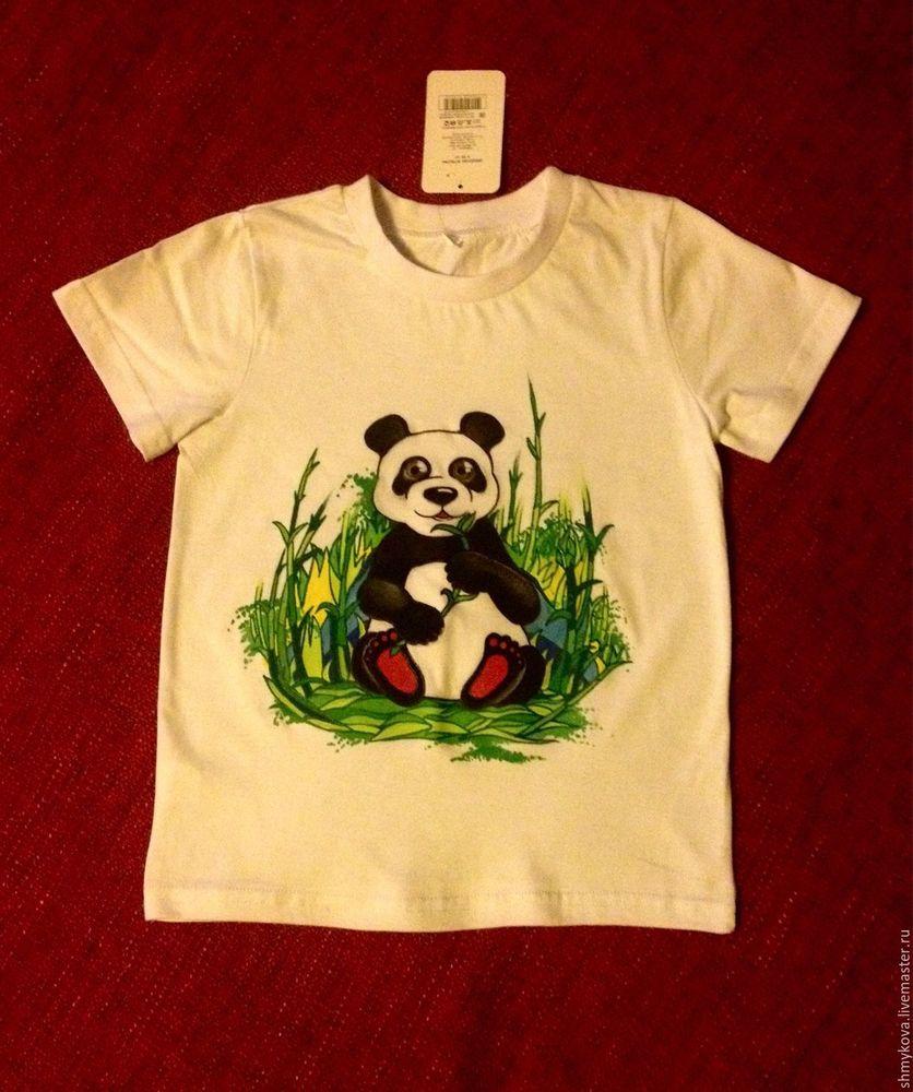 футболка, роспись, панда, футболка с росписью, акрил