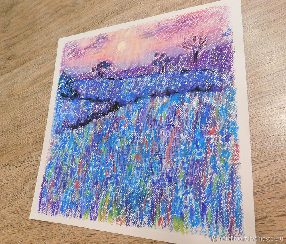 Drawing Flower Field with Oil Pastel, фото № 5