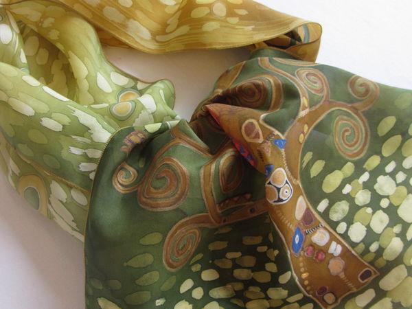 Новинка шелковый шарф Дерево жизни по мотивам картин Густав Климт | Ярмарка Мастеров - ручная работа, handmade