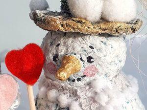 Лепим с детьми нежных снеговичков из папье-маше. Ярмарка Мастеров - ручная работа, handmade.
