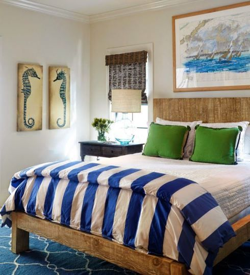 Coastal bedroom with natural details and beautiful blues.