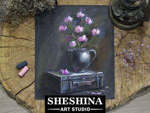 Как нарисовать сухой пастелью натюрморт со старым чемоданом и веткой цветущей магнолии в вазе: видеоурок. Ярмарка Мастеров - ручная работа, handmade.