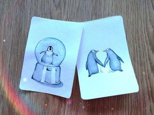 Рисуем акварельную открытку «Снежный шар». Ярмарка Мастеров - ручная работа, handmade.
