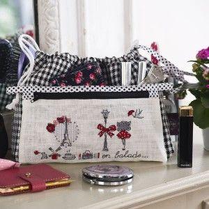 linen « Pied-de-poule » Handbag organiser