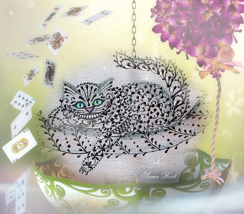 чеширский кот, контурная роспись, рисуем контурами 365 дней, творческий проект, творческий марафон, sirma root, сирма рут