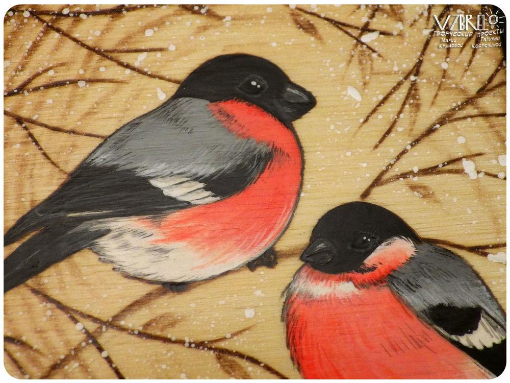 взбрело, новая работа, деревянный блокнот, птицы, синицы