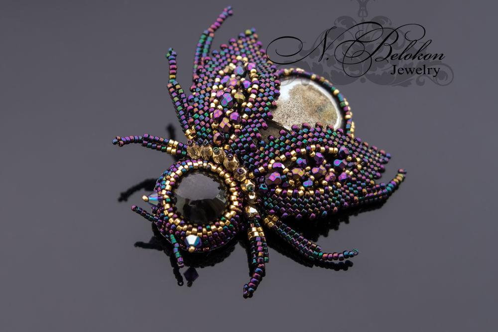 вышивка бисером, украшения насекомые