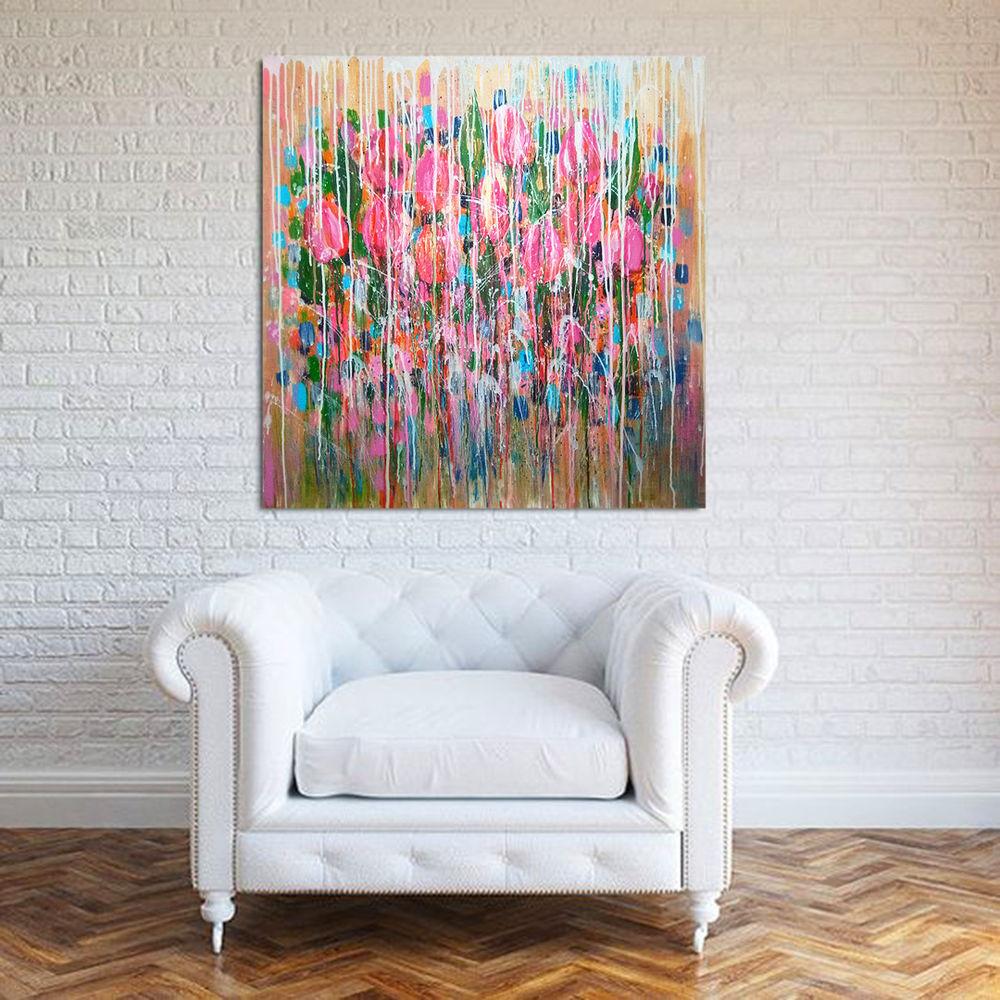 картина, цветы абстракция, яркая розовая картина