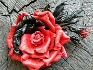 Броши-цветы из кожи.. Ярмарка Мастеров - ручная работа, handmade.