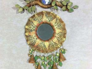 Колокольчики звенят. Панно солнце с зеркалом. Ярмарка Мастеров - ручная работа, handmade.