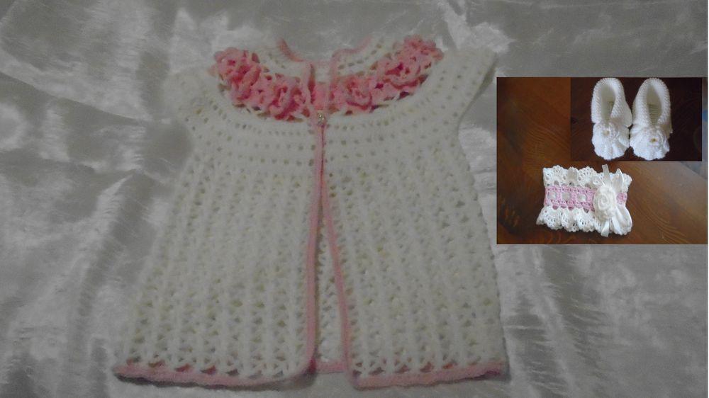акции, бесплатная доставка, комплект для девочки, белый цвет, ажурный, красивый подарок, подарок, жилет, повязка на голову, пинетки
