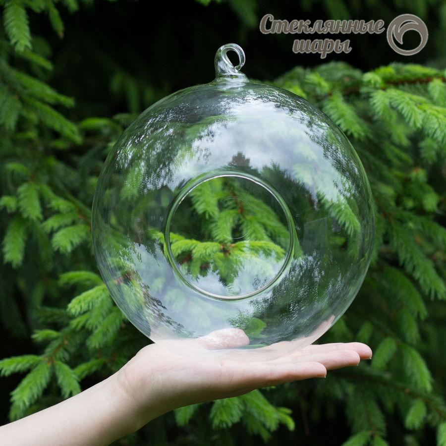 подвесная ваза, стеклянный шар для декора, шар с петелькой, подвесная стеклянная ваза