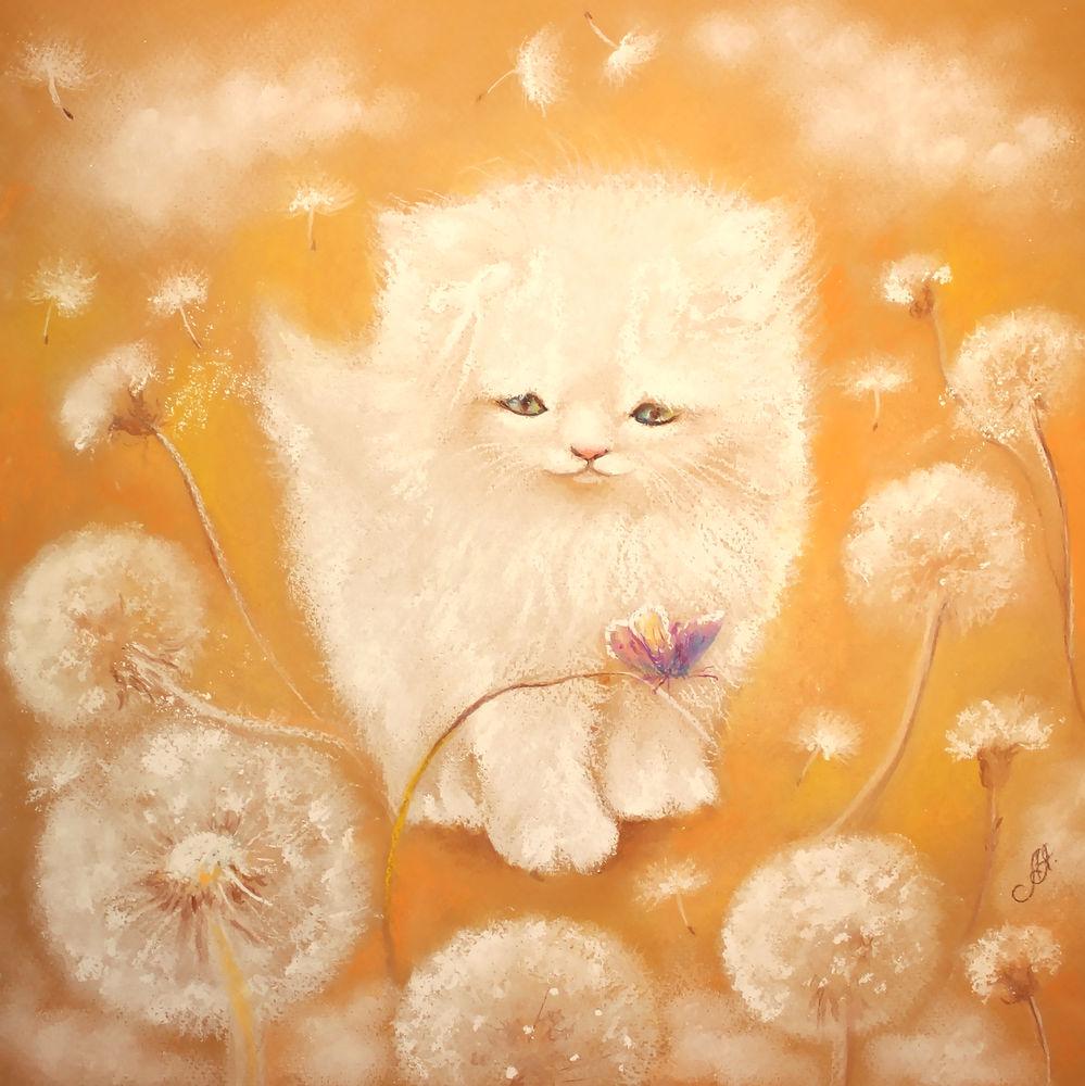 картина пастелью, картина маслом, в детскую, детская комнат, котенок