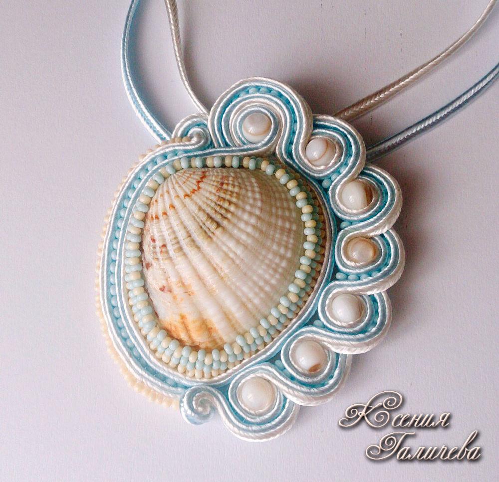 украшения на шею, сутажные кулоны, украшения на заказ, морская тема