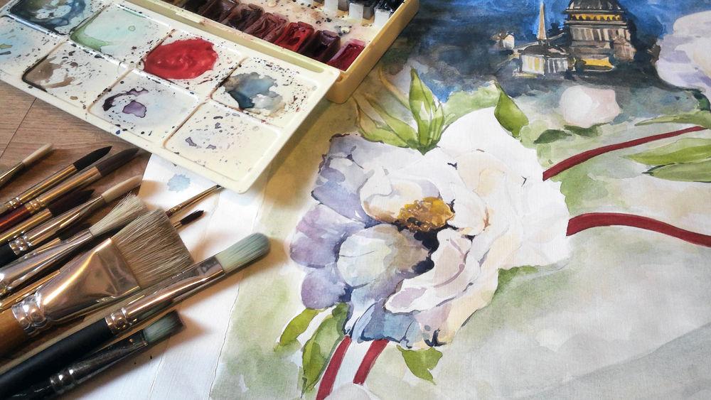 акварельная живопись, сновидения, влюбленные