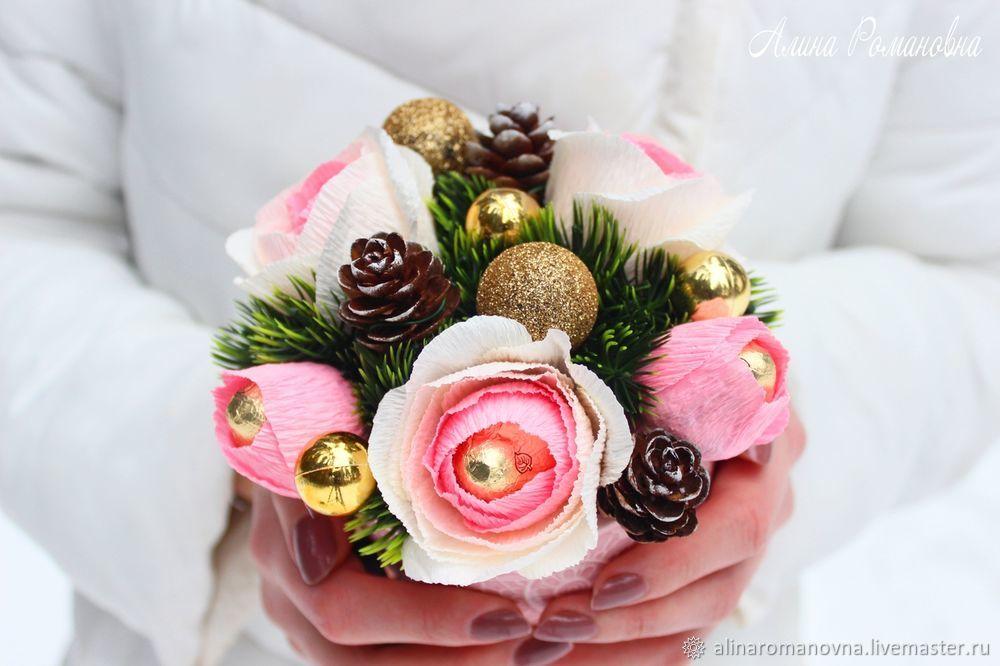 гофрированная бумага, цветы из бумаги, букет из конфет