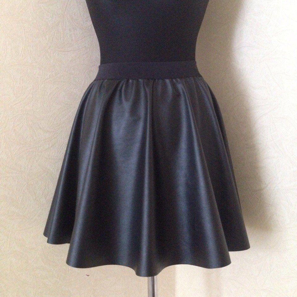 кожа, эко-кожа, юбка с запахом, юбка миди, юбка в складку