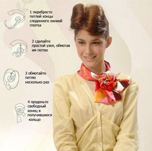 Как красиво завязать платок на платье