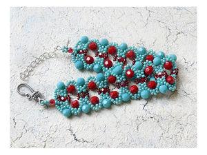 Видео мастер-класс: плетем из бисера и бусин браслет «Рубиновая дорожка». Ярмарка Мастеров - ручная работа, handmade.