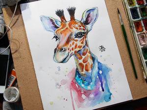 Видео с Процессом Рисования - Акварельный жираф | Ярмарка Мастеров - ручная работа, handmade
