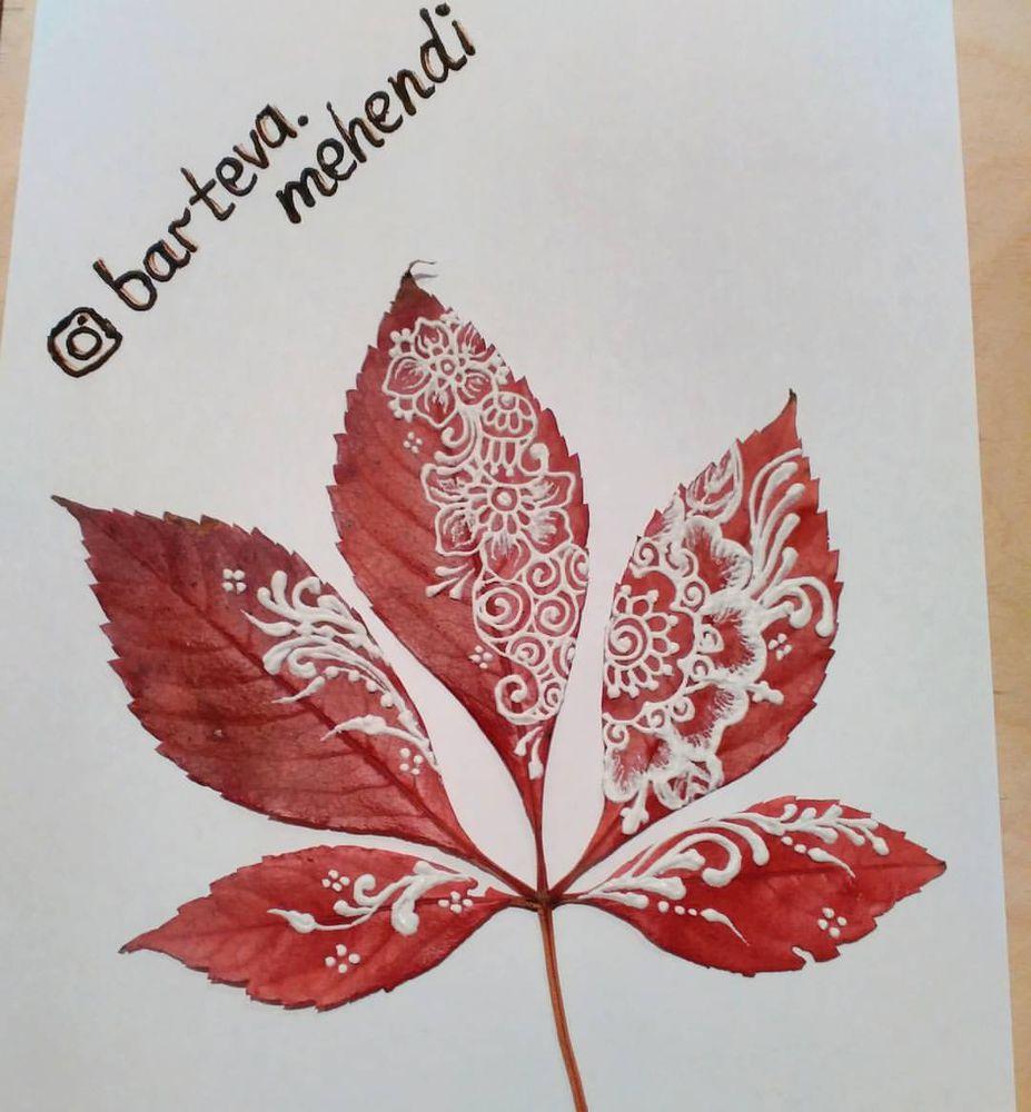 Идея для вдохновения: роспись осенних листьев в стиле мехенди., фото № 6