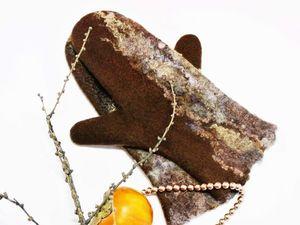Из Сибири с любовью!!!!!Валяные варежки из тончайшего  итальянского мериноса 18 микрон  с добавлением кудрей  флиса счастливых овечек. Ярмарка Мастеров - ручная работа, handmade.