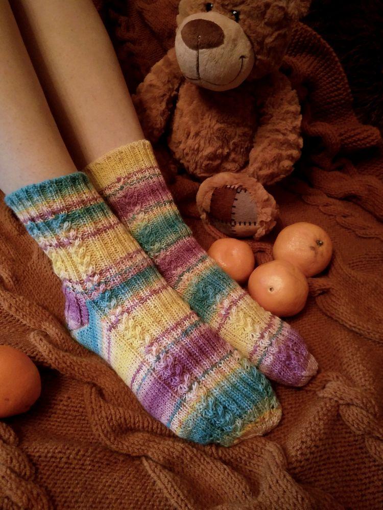 носки, шерстяная радуга