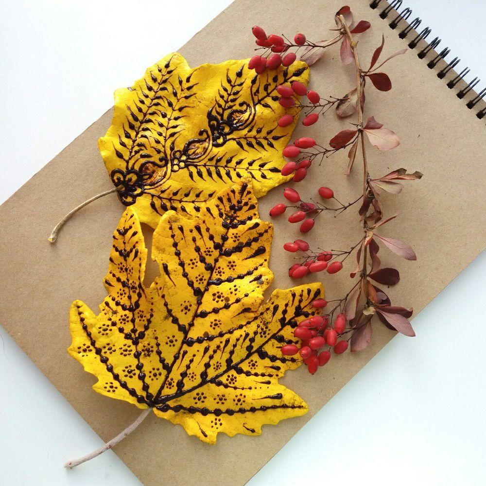 Идея для вдохновения: роспись осенних листьев в стиле мехенди., фото № 7