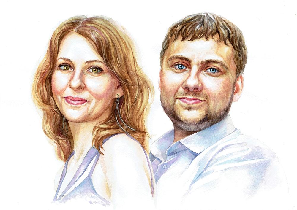 портреты, акварельная живопись, портрет в подарок