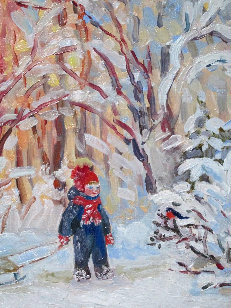 зимний пейзаж, картина в подарок, солнечный, ярмарка мастеров, новинка магазина