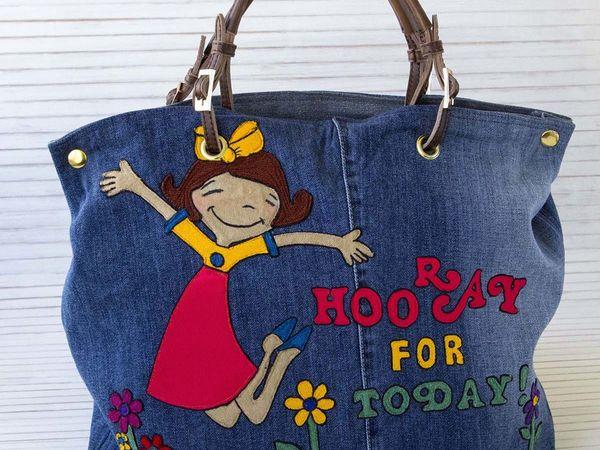 Украшаем джинсовую сумку аппликацией из трикотажной ткани | Ярмарка Мастеров - ручная работа, handmade