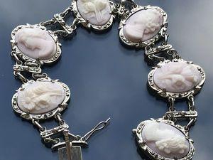 Антикварный браслет с камеями коралл Кожа Ангела. Ярмарка Мастеров - ручная работа, handmade.