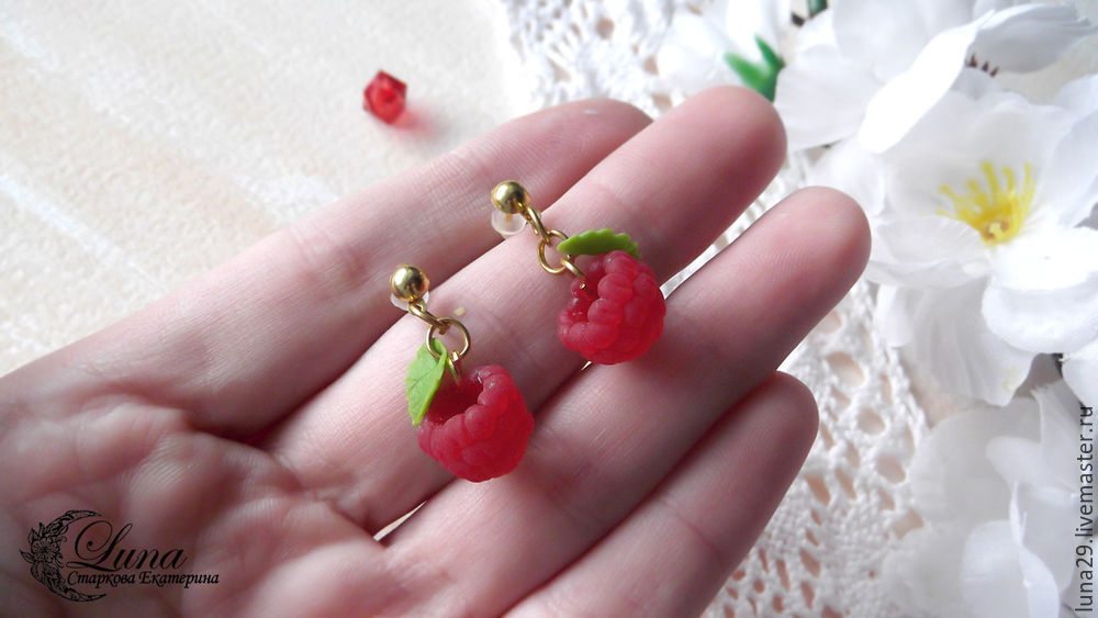 малина, малина из пластики, ягоды из пластики мк, ягодные украшения, серьги ручной работы, лепка ягод, лепка из полимерной глины, мастер-класс по лепке, урок лепки, серьги с малиной, как слепить малину