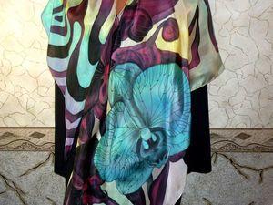 Стильная новинка! Шёлковый платок батик, Дикие орхидеи,натуральный шёлк 112-112 см. Ярмарка Мастеров - ручная работа, handmade.