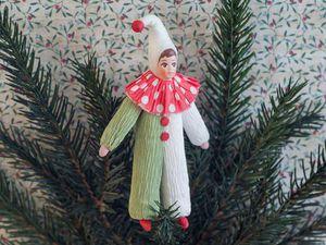 Ёлочная игрушка «Циркач» по мотивам старых игрушек из ваты и креповой бумаги. Ярмарка Мастеров - ручная работа, handmade.