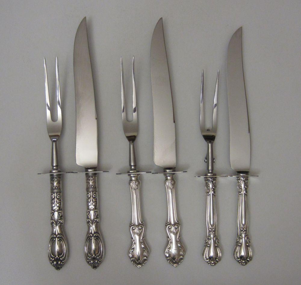 сервировочные наборы, винтажные приборы, все для сервировки, для шикарной сервировки, серебряная вилка, приборы для мяса, sterling, серебро, лезвия нержавейка, клеймо