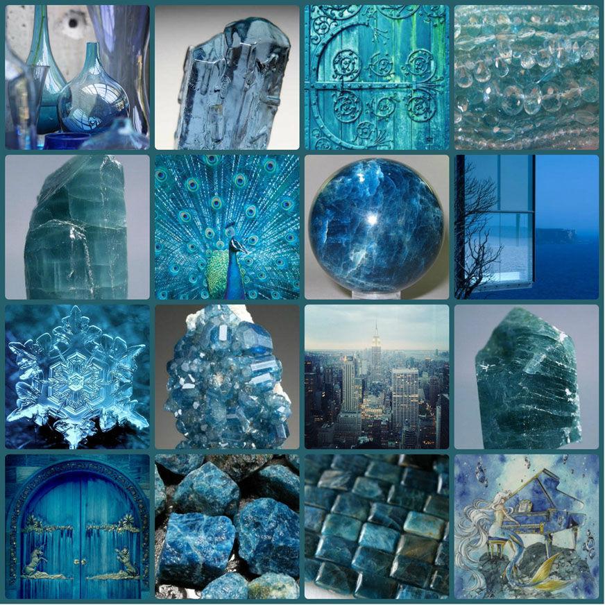 коллаж, натуральные камни, апатит, синий, сине-зеленый, кристалл, фантазия, архитектура, воображение