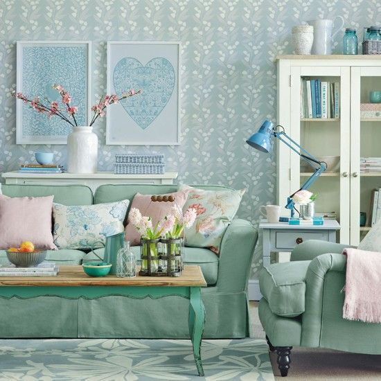 Sea green and blue living room
