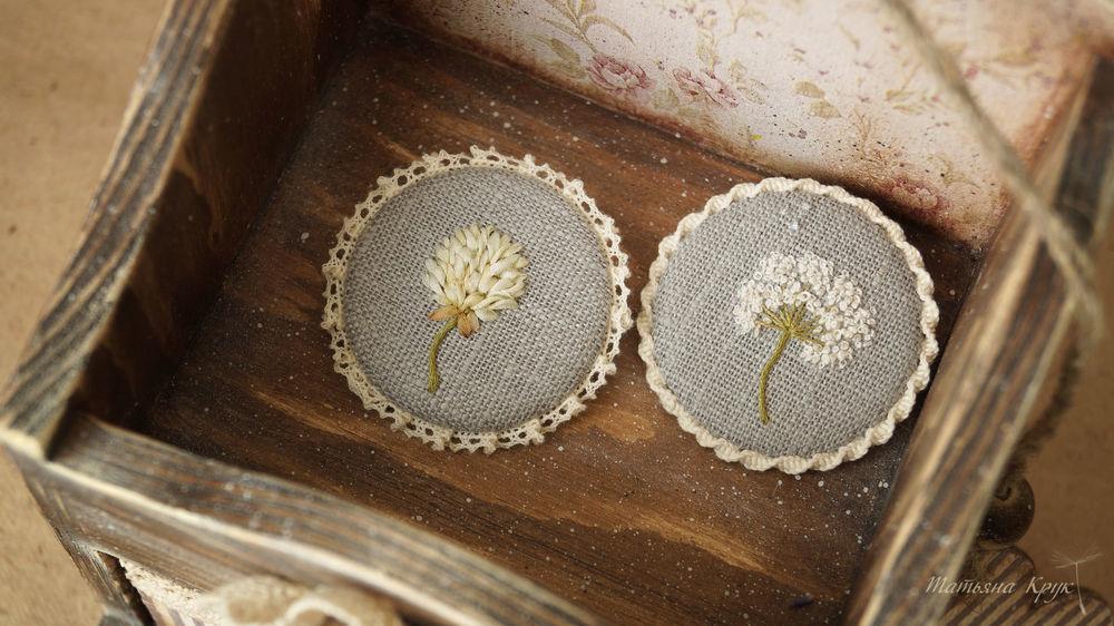 изделия ручной работы, текстильная брошь круглая