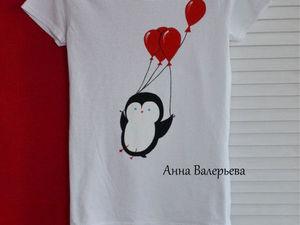 Рисуем забавного пингвиненка на футболке. Ярмарка Мастеров - ручная работа, handmade.