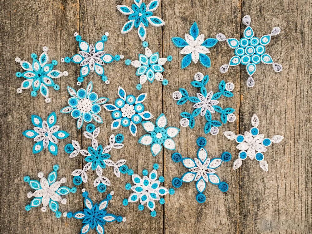 вязанные снежинки