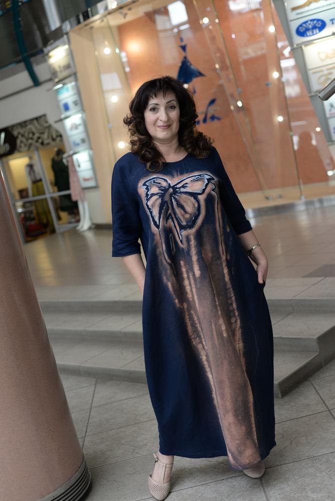 одежда из льна, платье в пол, роспись на лне, бохо стиль