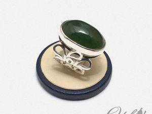 Серебряный перстень с нефритом (видео). Ярмарка Мастеров - ручная работа, handmade.