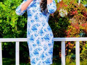 Аукцион на платье ГЖЕЛЬ, старт 1000 руб!. Ярмарка Мастеров - ручная работа, handmade.