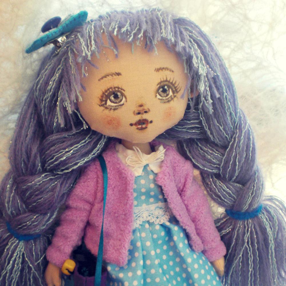 текстильная кукла, сиреневый